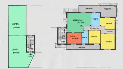 villa bifamiliare terrazzi Lissone planimetria