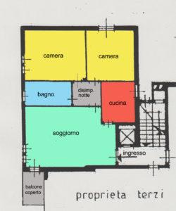 Trilocale elegante terrazzo Lissone planimetria