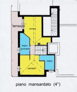 attico mansarda terrazzi lissone planimetria piano 4°
