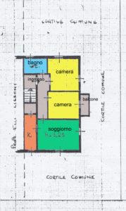 Appartamento in villetta Lissone planimetria piano 1°