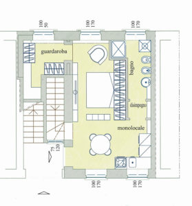 monolocale taverna centro lissone planimetria 2